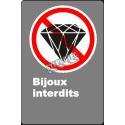 Affiche CSA «Bijoux interdits» de langue française: formats variés, matériaux divers, d'autres langues & options