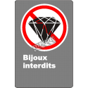 """French CDN """"No Jewelry Allowed"""" sign in various sizes, shapes, materials & languages + optional features"""