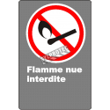 """French CDN """"No Open Flames"""" sign in various sizes, shapes, materials & languages + optional features"""