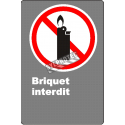 """French CDN """"No Lighters Allowed"""" sign in various sizes, shapes, materials & languages + optional features"""