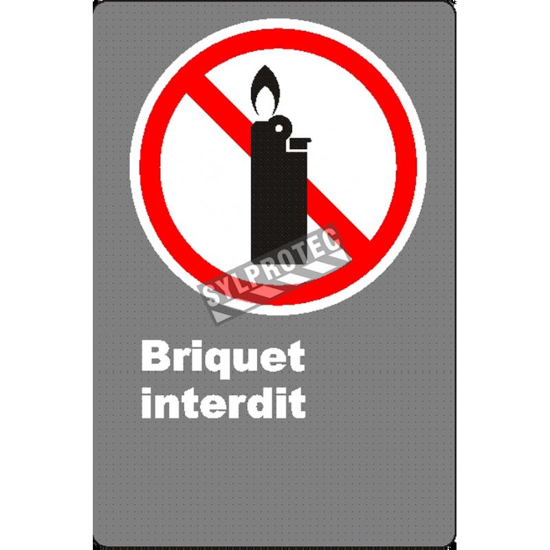 Affiche CSA «Briquet interdit» de langue française: formats variés, matériaux divers, d'autres langues & options