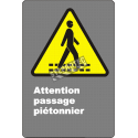 """French CDN """"Pedestrian Crossing"""" sign in various sizes, shapes, materials & languages + optional features"""