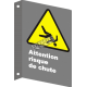 """French CSA """"Caution Fall Hazard"""" sign in various sizes, shapes, materials & languages + optional features"""