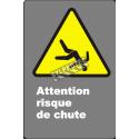 Affiche CDN «Attention risque de chute» de langue française: langues, formats & matériaux divers + options