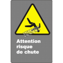 """French CDN """"Caution Fall Hazard"""" sign in various sizes, shapes, materials & languages + optional features"""