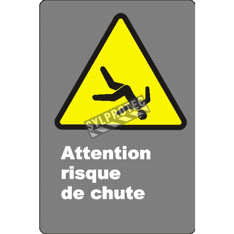 Affiche CSA «Attention risque de chute» de langue française: langues, formats & matériaux divers + options