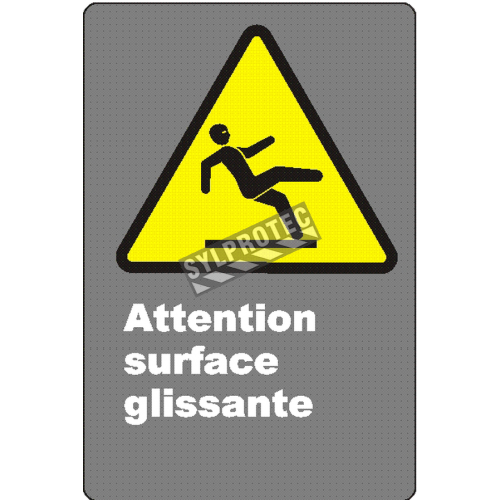 """French CSA """"Caution Slippery Surface"""" sign in various sizes, shapes, materials & languages + optional features"""