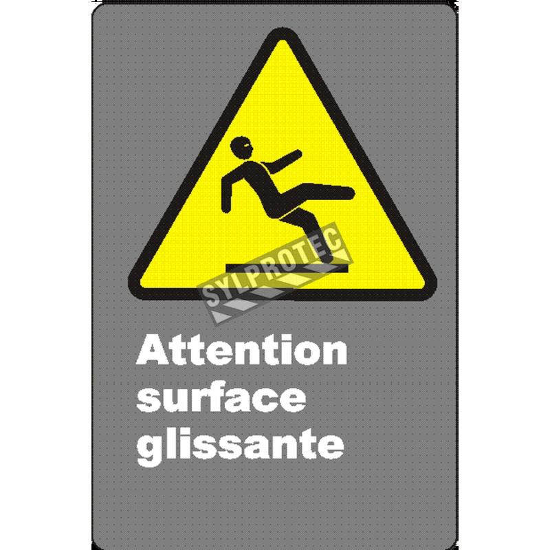 Affiche CSA «Attention surface glissante» de langue française: langues, formats & matériaux divers + options