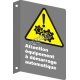 """French CSA """"Caution Automatic Starting Equipment"""" sign: many sizes, materials & languages + optional features"""