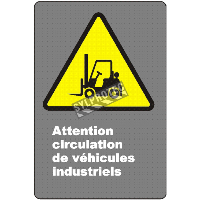 """French CSA """"Caution Industrial Vehicles Traffic"""" sign in various sizes, materials & languages + optional features"""