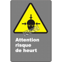 """French CDN """"Caution Collion Hazard"""" sign in various sizes, shapes, materials & languages + optional features"""