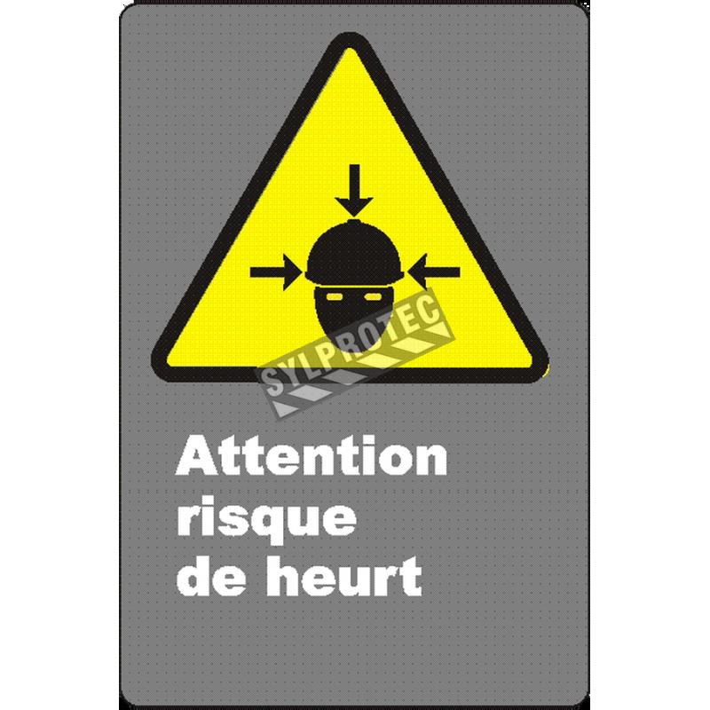 Affiche CSA «Attention risque de heurt» de langue française: langues, formats & matériaux divers + options