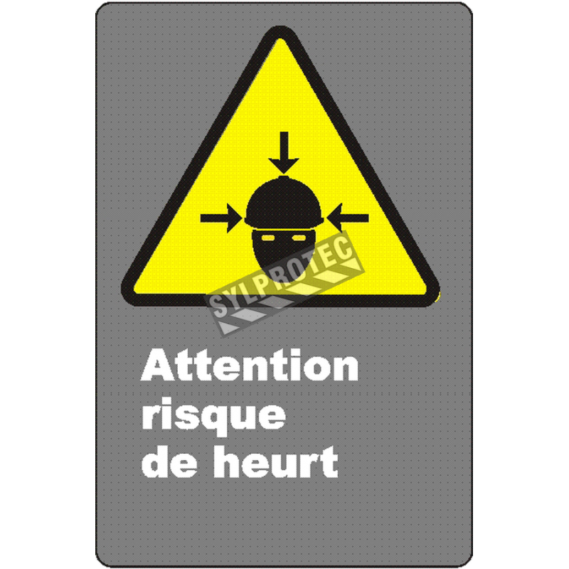 """French CSA """"Caution Collion Hazard"""" sign in various sizes, shapes, materials & languages + optional features"""