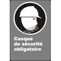 Affiche CDN «Casque de sécurité obligatoire» de langue française: langues, formats & matériaux divers + options