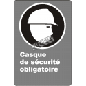 "French CDN ""Safety Helmet Mandatory"" sign in various sizes, shapes, materials & languages + optional features"