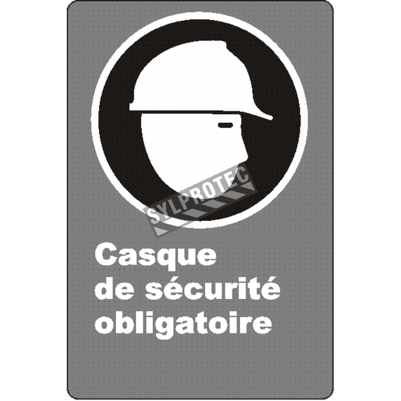 """French CSA """"Safety Helmet Mandatory"""" sign in various sizes, shapes, materials & languages + optional features"""