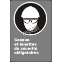 Affiche CDN«Casque et lunettes de sécurité obligatoires» en français: langues, formats & matériaux divers + options