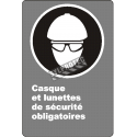 "French CDN ""Safety Helmet And Glasses Mandatory"" sign: many sizes, shapes, materials & languages + optional features"