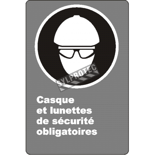 "French CSA ""Safety Helmet And Glasses Mandatory"" sign: many sizes, shapes, materials & languages + optional features"