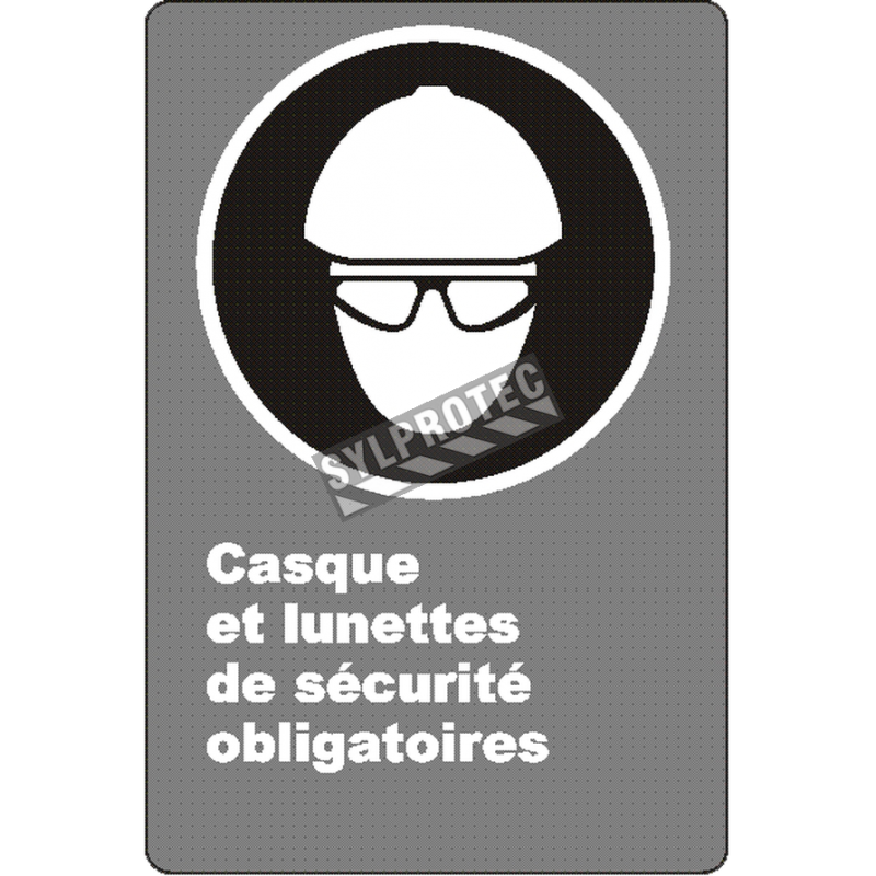 """French CSA """"Safety Helmet And Glasses Mandatory"""" sign: many sizes, shapes, materials & languages + optional features"""