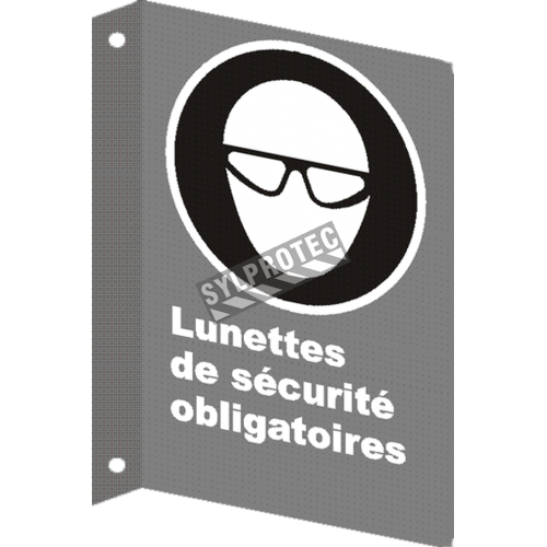 """French CSA """"Safety Eyewear Mandatory"""" sign in various sizes, shapes, materials & languages + optional features"""