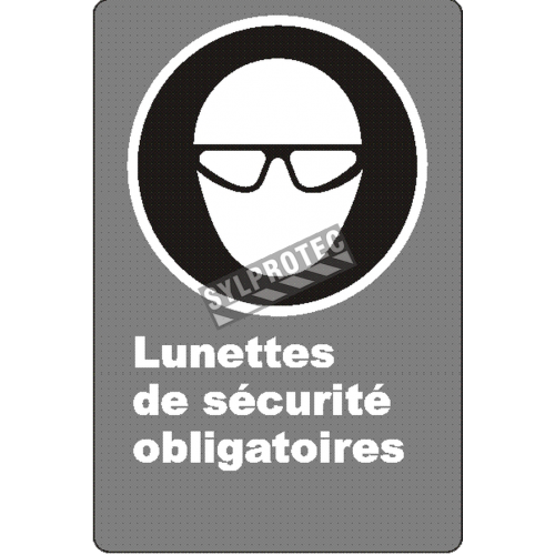 "French CSA ""Safety Eyewear Mandatory"" sign in various sizes, shapes, materials & languages + optional features"