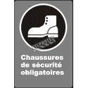 Affiche CDN «Chaussures de sécurité obligatoires» de langue française: langues, formats & matériaux divers + options