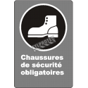 "French CDN ""Safety Footwear Mandatory"" sign in various sizes, shapes, materials & languages + optional features"