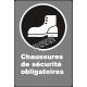 Affiche CSA «Chaussures de sécurité obligatoires» de langue française: langues, formats & matériaux divers + options