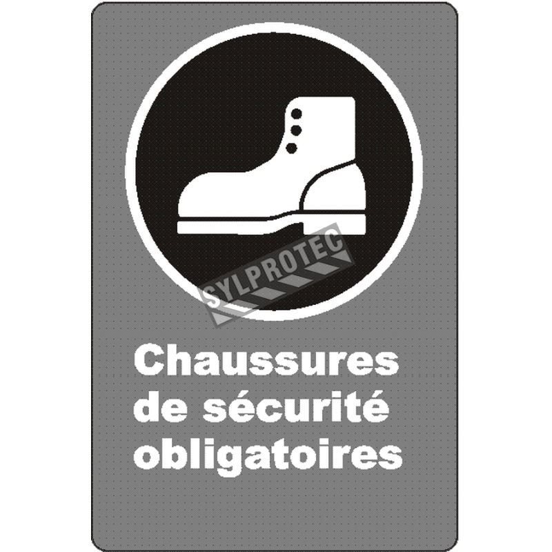"""French CSA """"Safety Footwear Mandatory"""" sign in various sizes, shapes, materials & languages + optional features"""