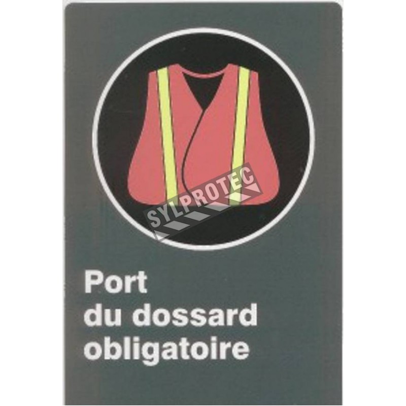 """French CSA """"Safety Bib Mandatory"""" sign in various sizes, shapes, materials & languages + optional features"""