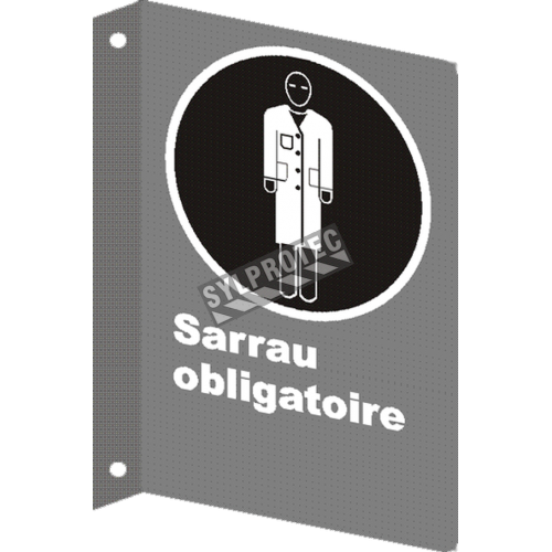 """French CSA """"Smock Mandatory"""" sign in various sizes, shapes, materials & languages + optional features"""