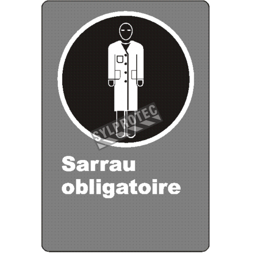 Affiche CSA « Sarrau obligatoire» de langue française: langues, formats & matériaux divers