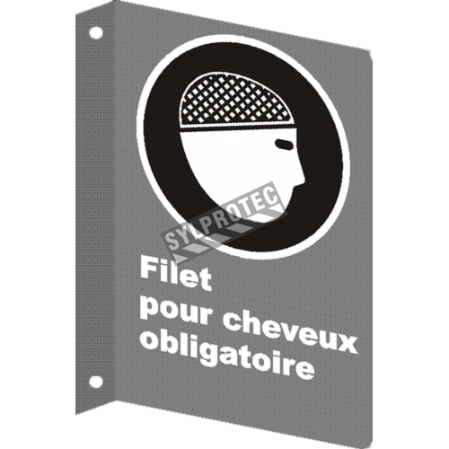 """French CSA """"Hairnet Mandatory"""" sign in various sizes, shapes, materials & languages + optional features"""