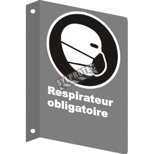 """French CSA """"Respirator Mandatory"""" sign in various sizes, shapes, materials & languages + optional features"""