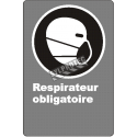 "French CDN ""Respirator Mandatory"" sign in various sizes, shapes, materials & languages + optional features"