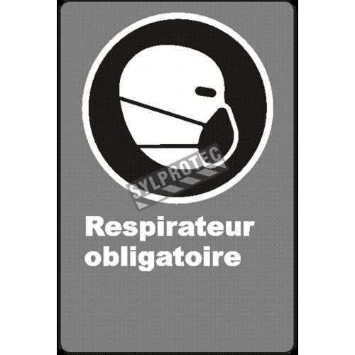 Affiche CSA «Respirateur obligatoire» de langue française: langues, formats & matériaux divers + options