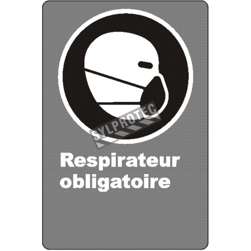 "French CSA ""Respirator Mandatory"" sign in various sizes, shapes, materials & languages + optional features"