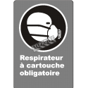"French CDN ""Cartridge Respirator Mandatory"" sign: many sizes, shapes, materials & languages + optional features"