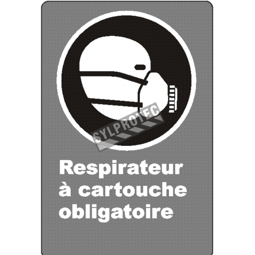 """French CSA """"Cartridge Respirator Mandatory"""" sign: many sizes, shapes, materials & languages + optional features"""