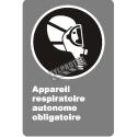 "French CDN ""Self-Contained Breathing Apparatus Mandatory"" sign: many sizes, materials & languages + optional features"
