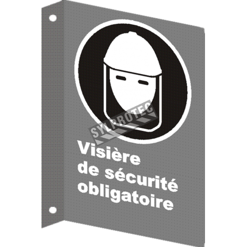 """French CSA """"Safety Visor Mandatory"""" sign in various sizes, shapes, materials & languages + optional features"""