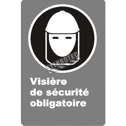 "French CSA ""Safety Visor Mandatory"" sign in various sizes, shapes, materials & languages + optional features"