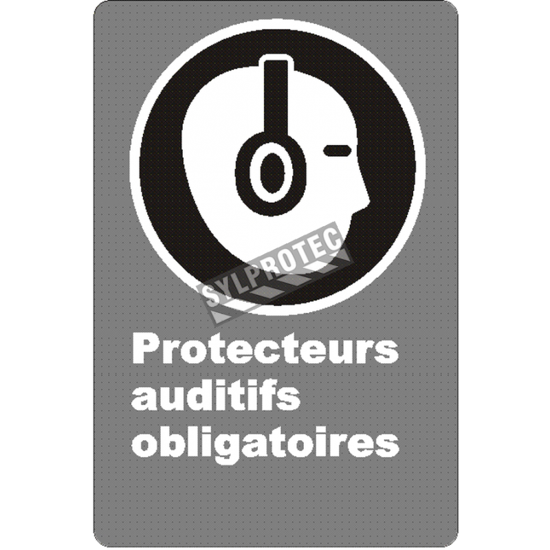 """French CSA """"Hearing Protection Mandatory"""" sign in various sizes, materials & languages + optional features"""
