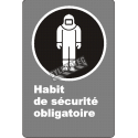 "French CDN ""Protective Clothing Mandatory"" sign in various sizes, shapes, materials & languages + optional features"