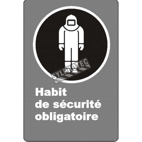 """French CSA """"Protective Clothing Mandatory"""" sign in various sizes, shapes, materials & languages + optional features"""