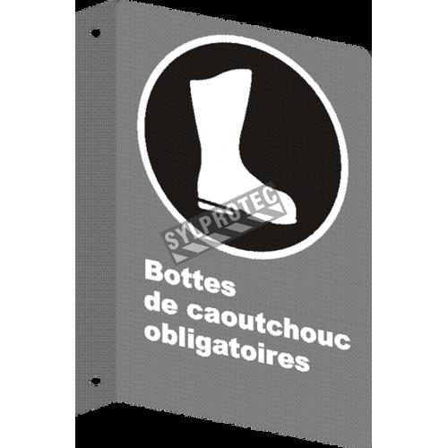 Affiche CSA «Bottes de caoutchouc obligatoires» de langue française: langues, formats & matériaux divers + options