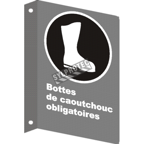 """French CSA """"Rubber Boots Mandatory"""" sign in various sizes, shapes, materials & languages + optional features"""