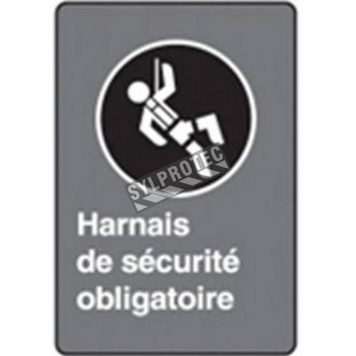 Affiche CSA «Harnais de sécurité obligatoire» en français: formats variés, matériaux divers, d'autres langues & options