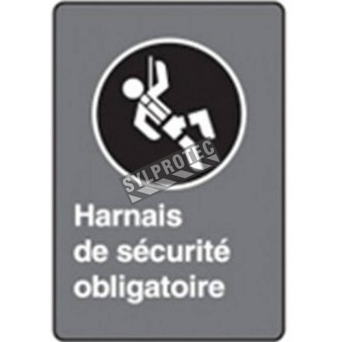 "French CSA ""Safety Harness Mandatory"" sign in various sizes, shapes, materials & languages + optional features"